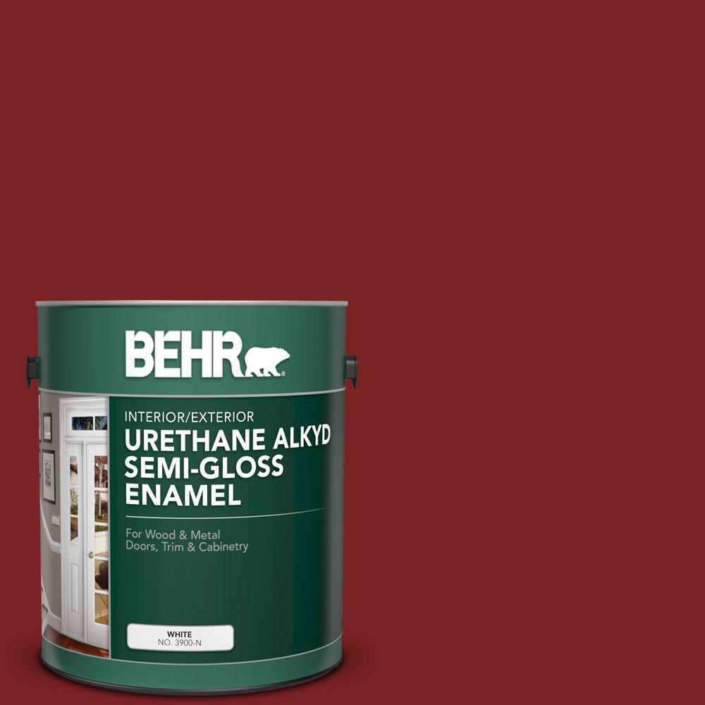 BEHR 1 gal. #SC-112 Barn Red Urethane Alkyd Semi-Gloss Enamel Interior/Exterior Paint