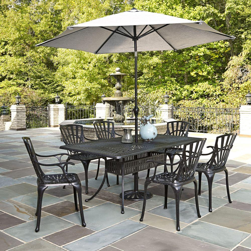 Home Styles Largo 7 Piece Outdoor Patio Dining Set With Umbrella
