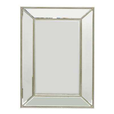 47 in. Wood Bevel Mirror in Champagne in Champagne