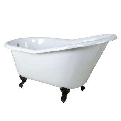 5 ft. Cast Iron Oil Rubbed Bronze Claw Foot Slipper Tub in White