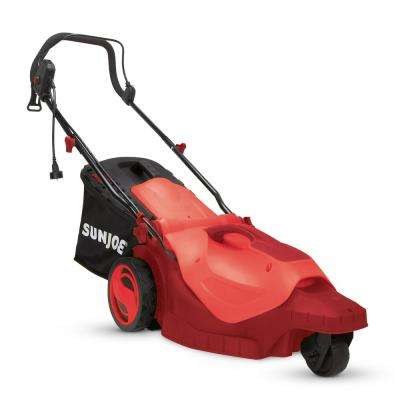16 in. 12 Amp 360° 3-Wheel Corded Electric Walk-Behind Lawn Mower Red