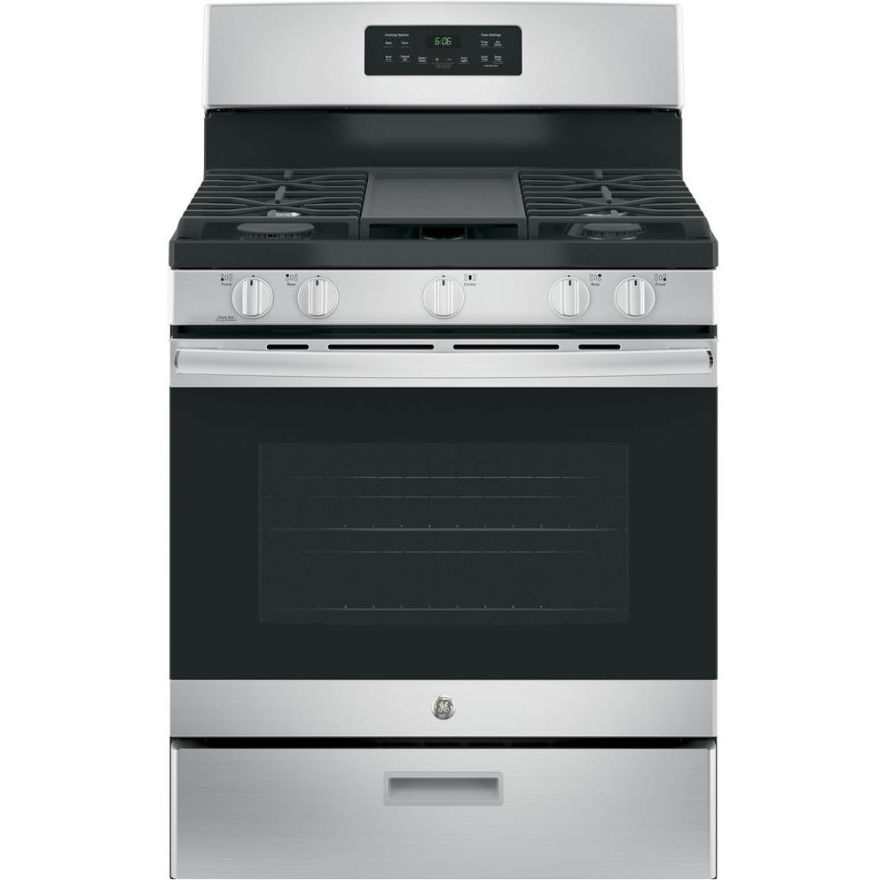Ge 30 In 5 0 Cu Ft Gas Range Stainless Steel