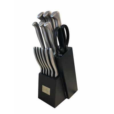 15-Piece with Black Block and Stainless Steel Handles Knife Block Set