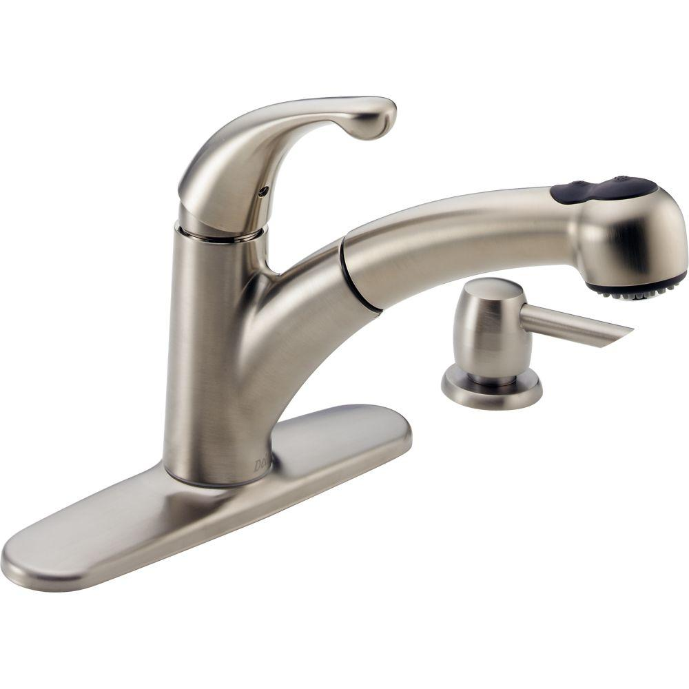 Palo Single Handle Pull Out Sprayer Kitchen Faucet With Soap Dispenser In