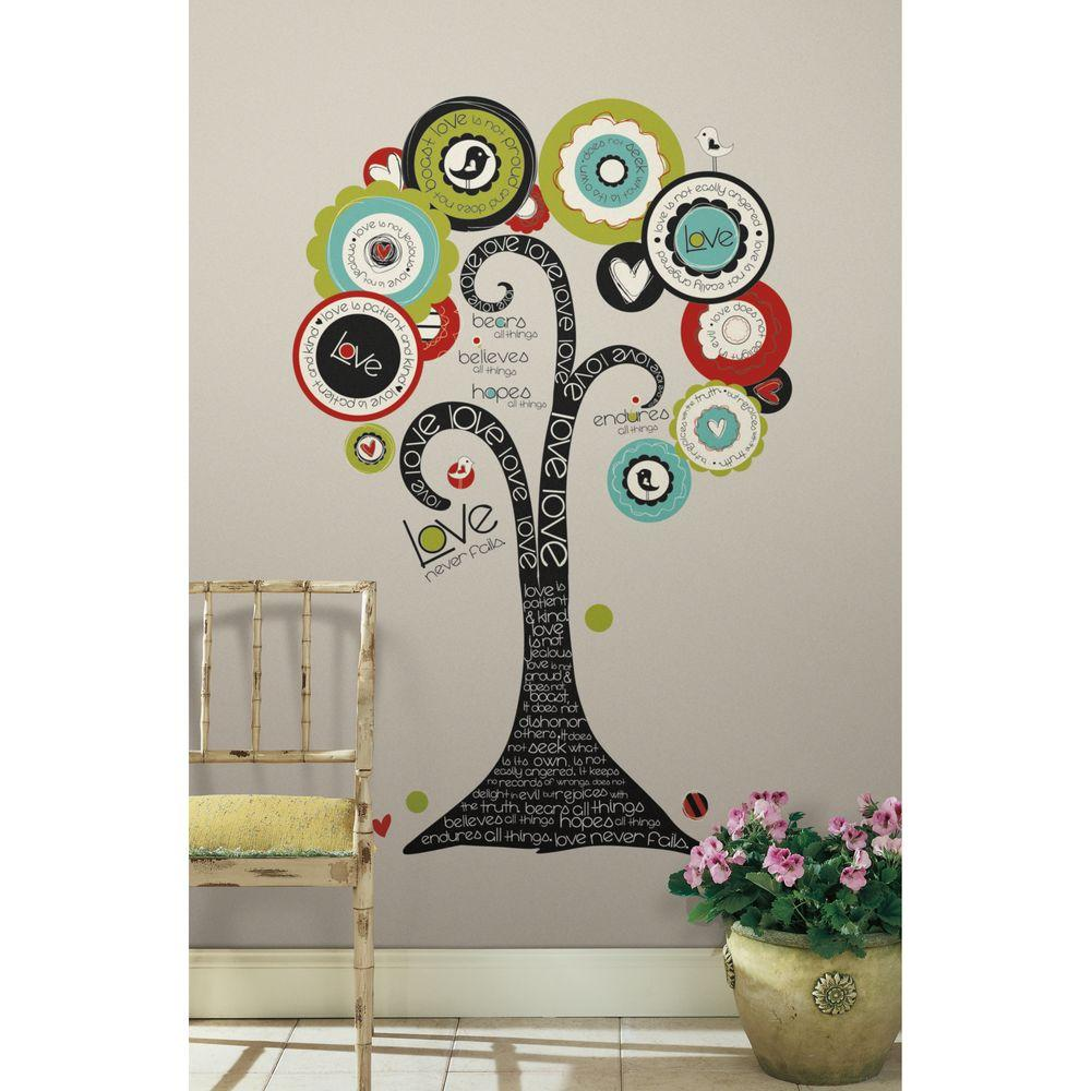 null 27 in. x 40 in. Tree of Hope 32-Piece Peel and Stick Giant Wall Decal