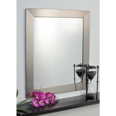 Large Rectangle Silver Hooks Modern Mirror (41 in. H x 32 in. W)
