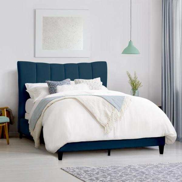 CorLiving Rosewell Navy Blue Fabric Vertical Channel-Tufted King Bed Frame