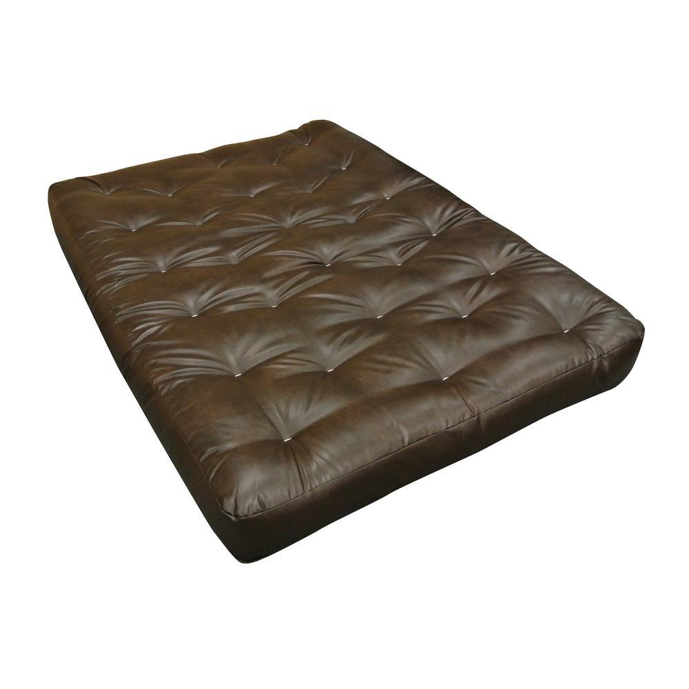 108 Full 10 in. EuroCoil Foam and Cotton Leather Futon Mattress