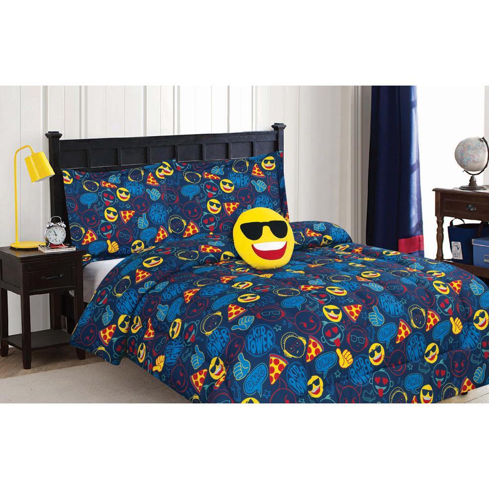 4-Piece Navy Cool Dude Emoji Twin Comforter Set