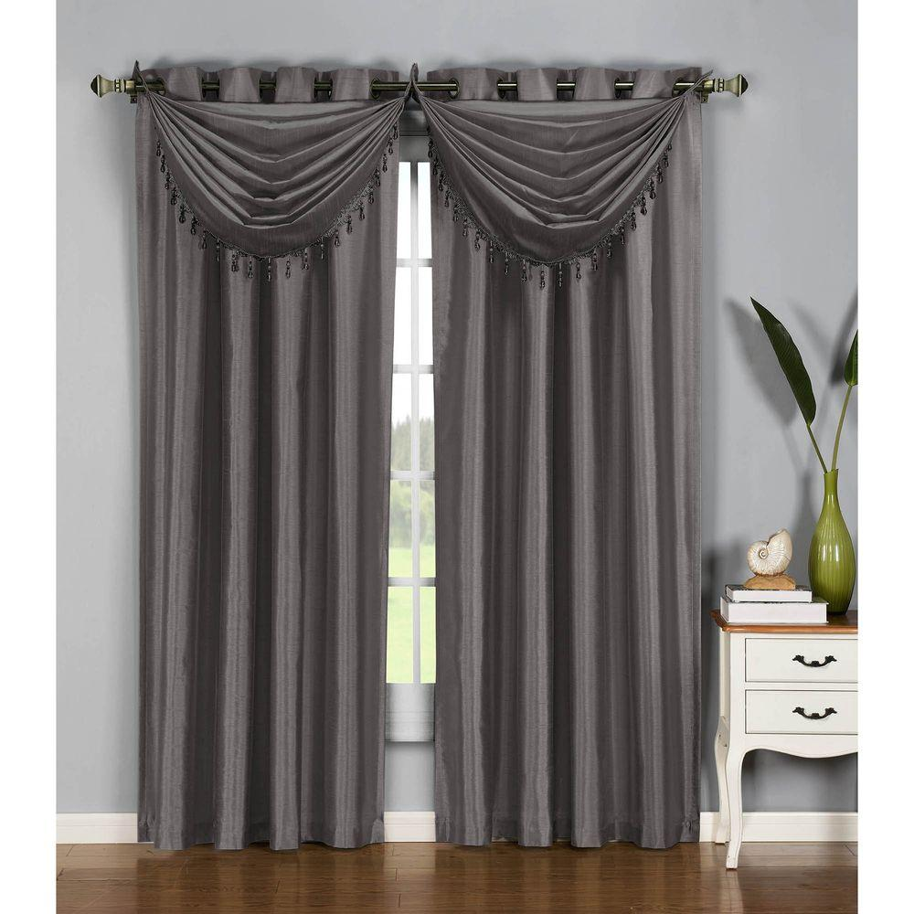 Semi-Opaque Jane Faux Silk 84 in. L Grommet Curtain Panel Pair,