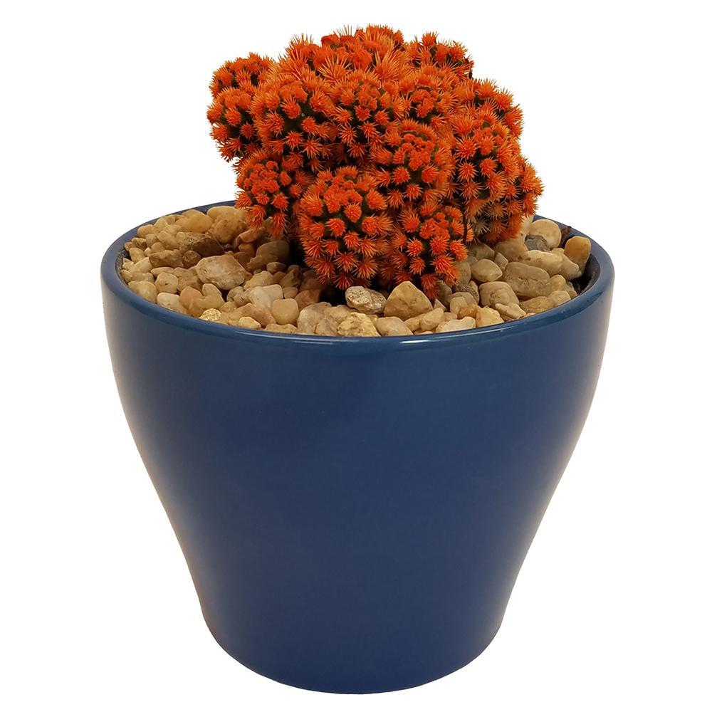 Orange Desert Gems in 4 in. Colorful Euro Turkish Blue Ceramic