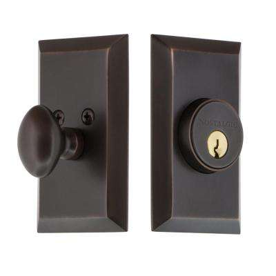 Studio Plate 2-3/8 in. Backset Single Cylinder Deadbolt in Timeless Bronze
