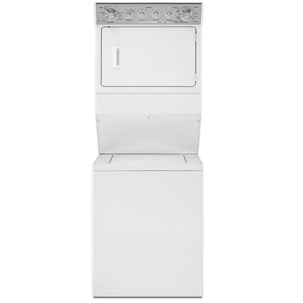 Maytag Stacked 2.5 cu. ft. Washer and 5.9 cu. ft. Electric Dryer in White