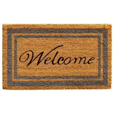 Periwinkle Border Welcome Door Mat 18 in. x 30 in.