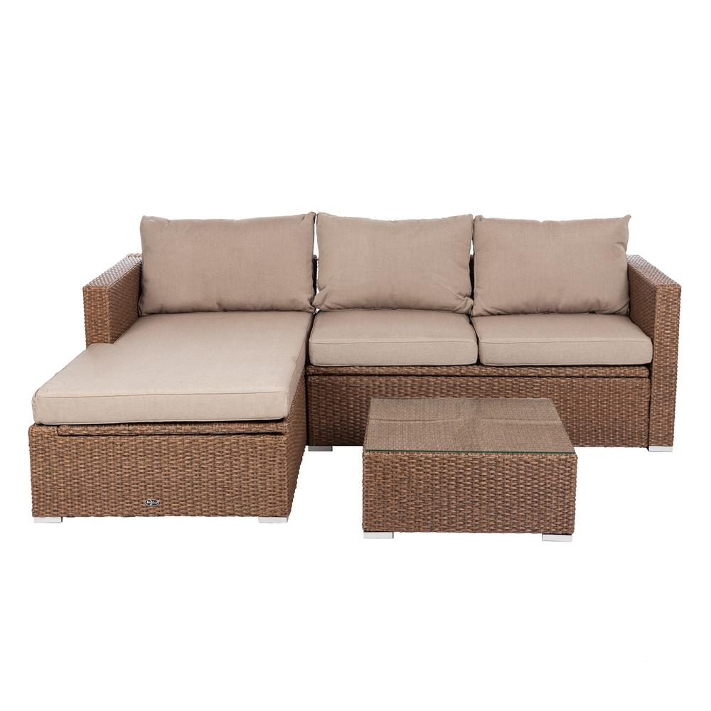Patio Sense Tristano 3 Piece Wicker Outdoor Sofa Set With Taupe Cushions 62426 The Home Depot