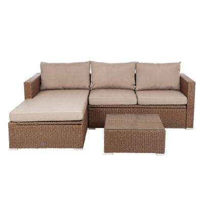 Tristano 3-Piece Wicker Outdoor Sofa Set with Taupe Cushions
