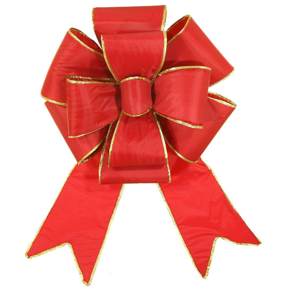 Christmas Ribbon.Red Sleigh 18 In Red Nylon Outdoor Christmas Puff Bow With Gold Trim