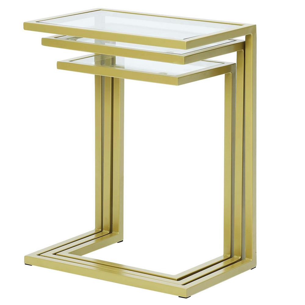 Carolina Cottage Addison Gold Glass Top Nesting Table (Set Of 3)