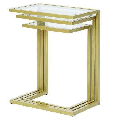 Addison Gold Glass Top Nesting Table (Set of 3)