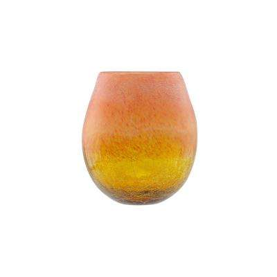 8 in. Amber Yellow Crackled and Coral Frosted Hand Blown Glass Vase