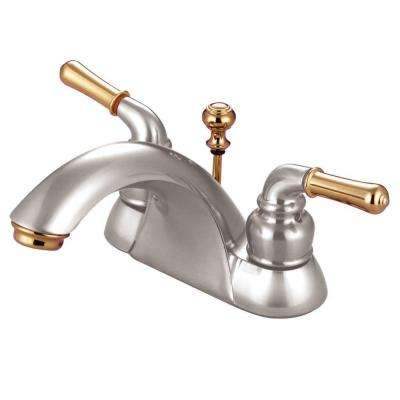 4 in. Centerset 2-Handle Bathroom Faucet in Satin Nickel and Polished Brass