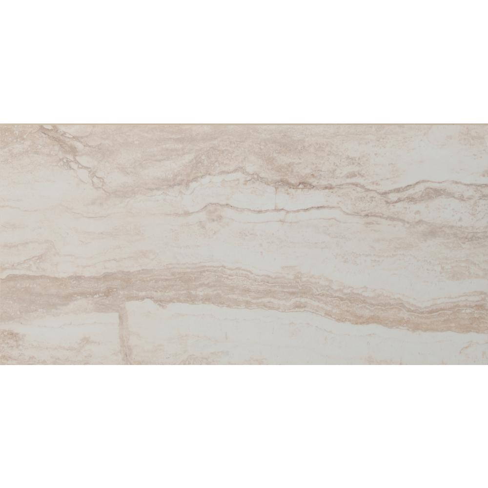 Beigecream porcelain tile tile the home depot romagna ivory 12 in x 24 in polished porcelain floor and wall tile dailygadgetfo Gallery