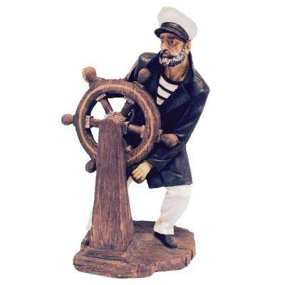 19 in. Captain at the Helm Boat Beach Statue