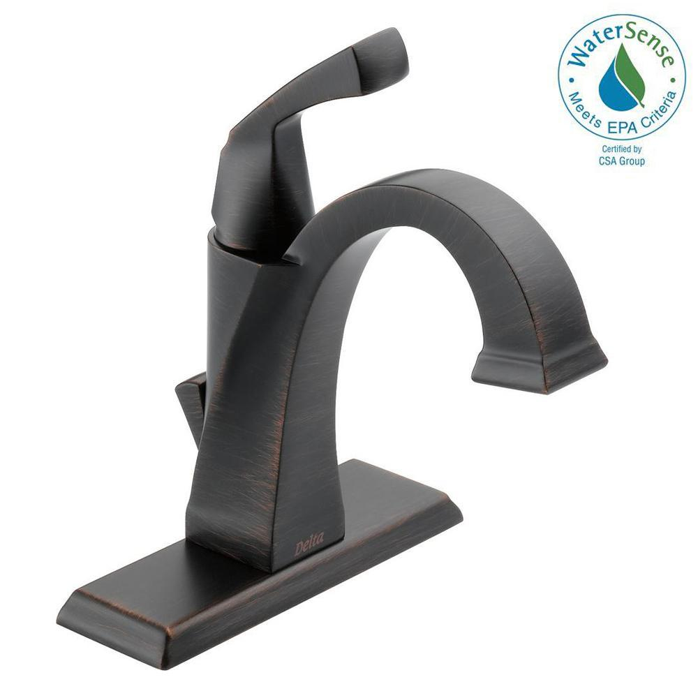 Delta Dryden Single Hole Single-Handle Bathroom Faucet with Metal Drain Assembly in Venetian Bronze