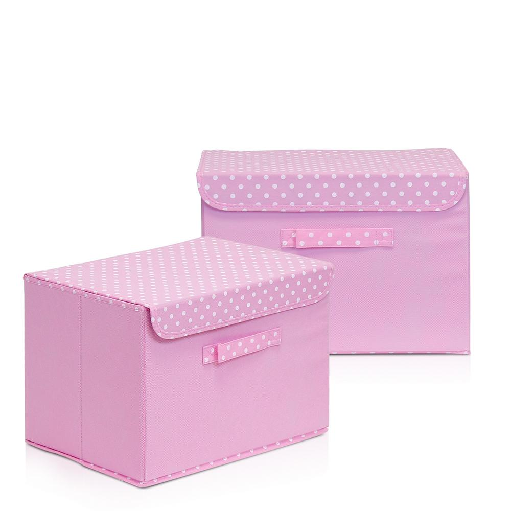 Furinno Non Woven Fabric Pink Storage Bin With Lid (2 Pack)