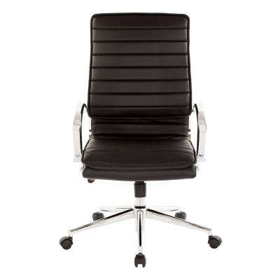 High Back Manager's Black Faux Leather Office Chair