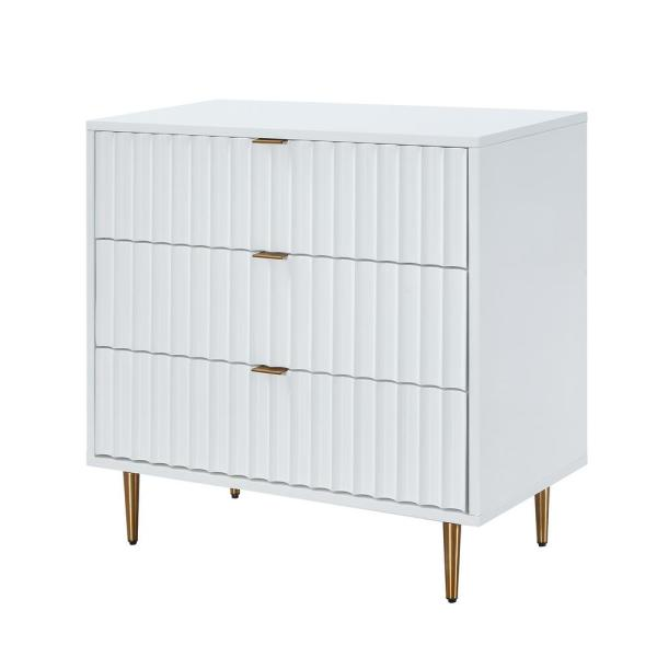 31.5 in. x 31.5 in. x 15.75 in. Fully-Assembled 3-Drawer Accent Chest of Drawers with Golden Stands