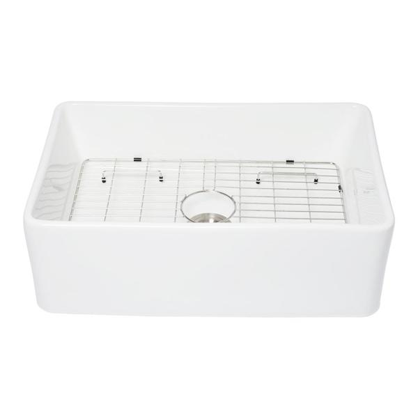 Matrix Decor Fireclay 33 In Single Bowl Farmhouse Apron Front Porcelain Ceramic Kitchen Sink In White Law33209r1 The Home Depot