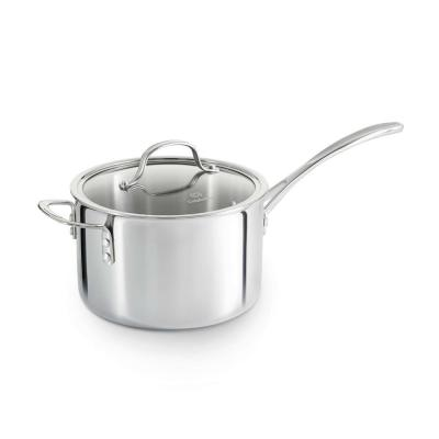 Tri-Ply 4.5 qt. Aluminum Sauce Pan in Stainless Steel with Glass Lid
