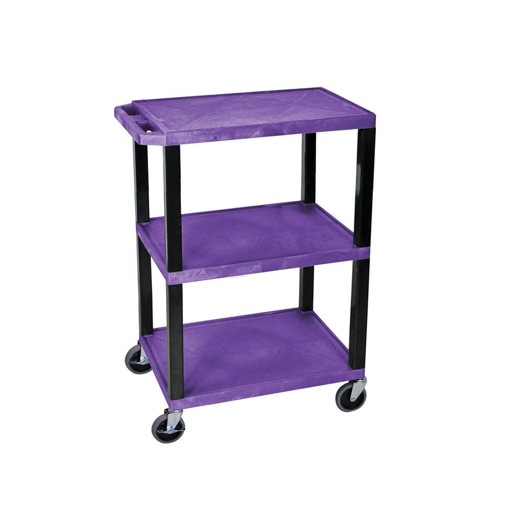WT 24 in.W x 18 in.D 3 Shelf audio visual cart purple and black.