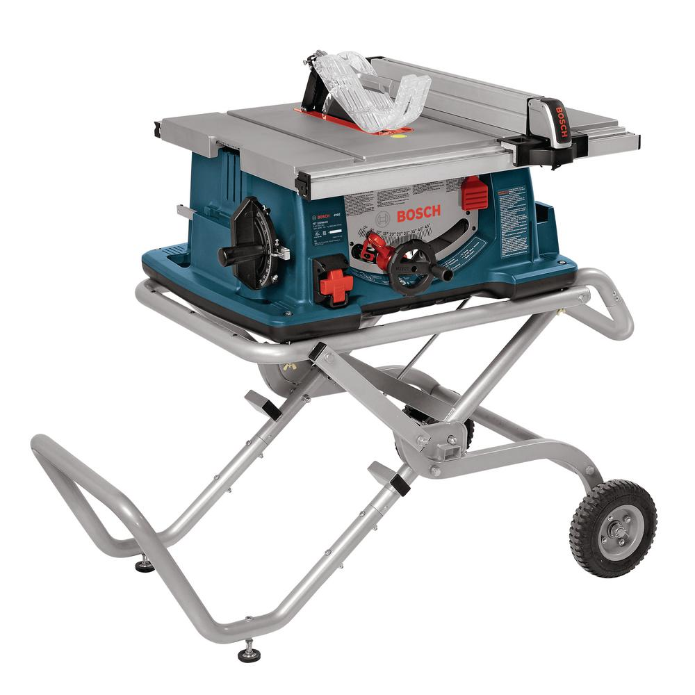 Bosch 15 Amp 10 in. Corded Portable Jobsite Table Saw with Gravity Rise Wheeled Stand