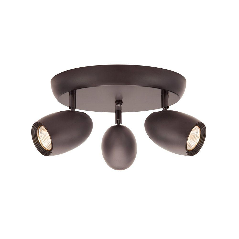 3-Light Bronze LED Dimmable Spot Light with Directional Head
