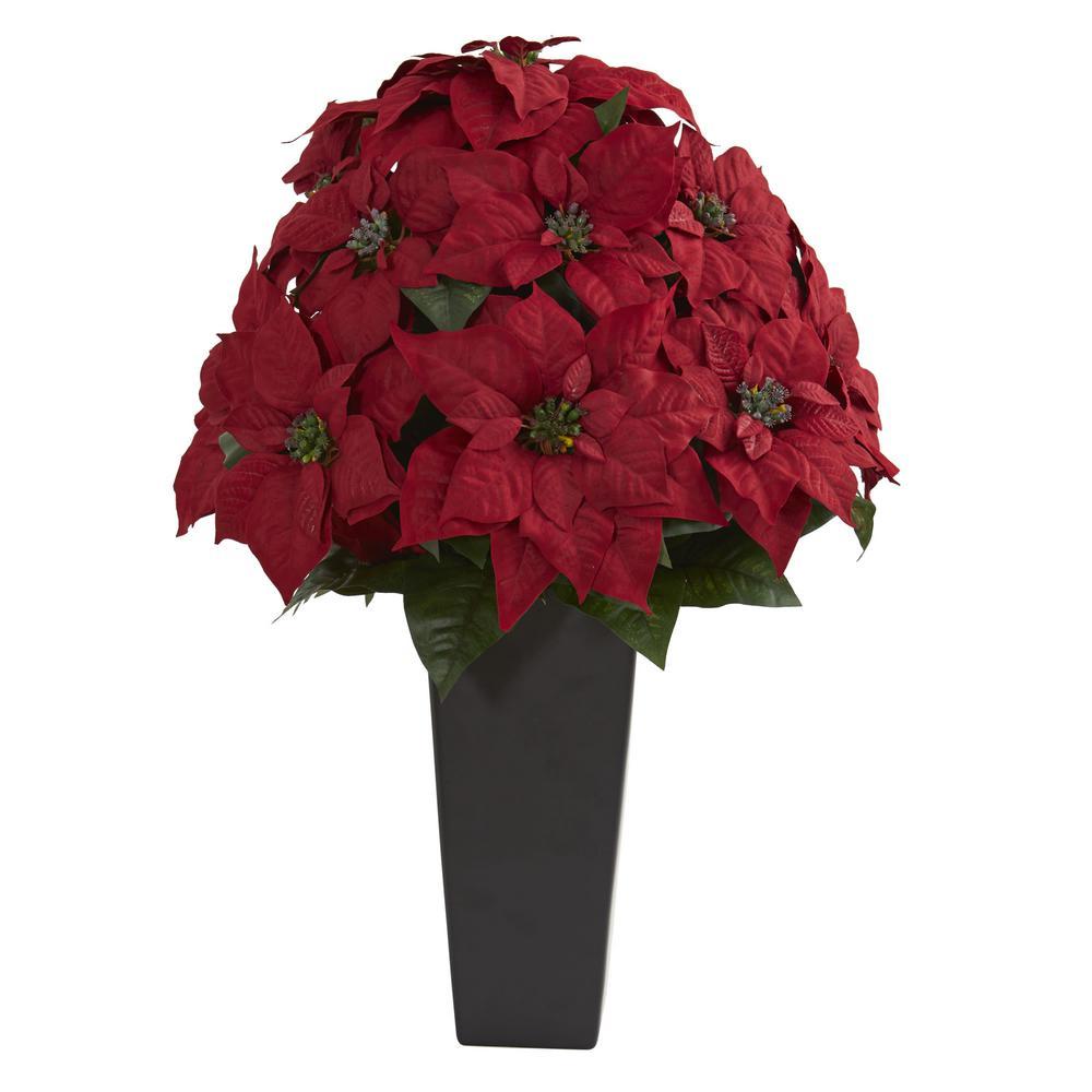 Indoor 27 in. Poinsettia Artificial Plant in Black Planter