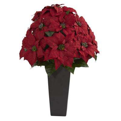 Indoor 27 in. Poinsettia Artificial Plant in Black Planter