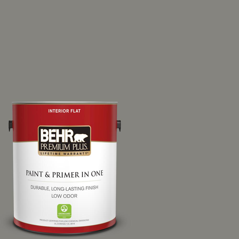 1 gal. #PPU24-07 Barnwood Gray Flat Low Odor Interior Paint and