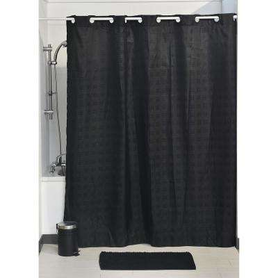 71 in. L x 79 in. H/ 180 cm x 200 cm Black Hookless Shower Curtain Polyester Cubic-Color Matching Hooks
