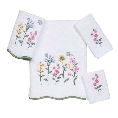 Premier Country Floral 4-Piece Bath Towel Set in White