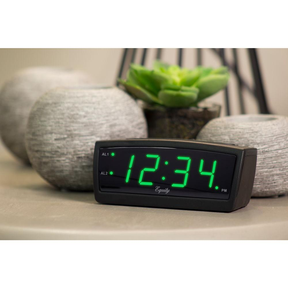 Equity By La Crosse Green Led 0 9 In Digital Alarm Clock