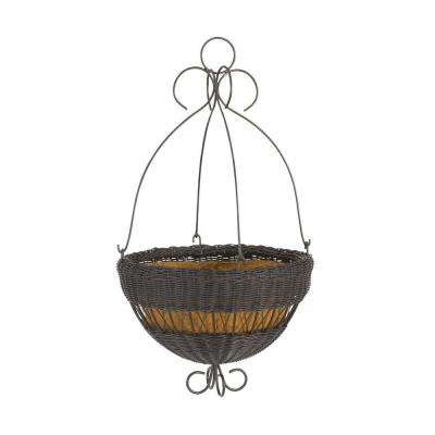 16 in. Black Resin Wicker Hanging Planter