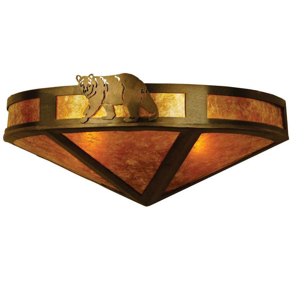 Illumine 2 Northwoods Lone Bear Wall Sconce Antique Copper Finish Mica Glass