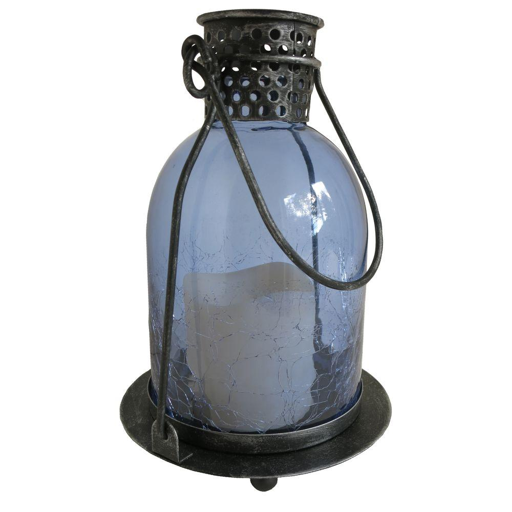 Monaco Blue Glass LED Candle Lantern