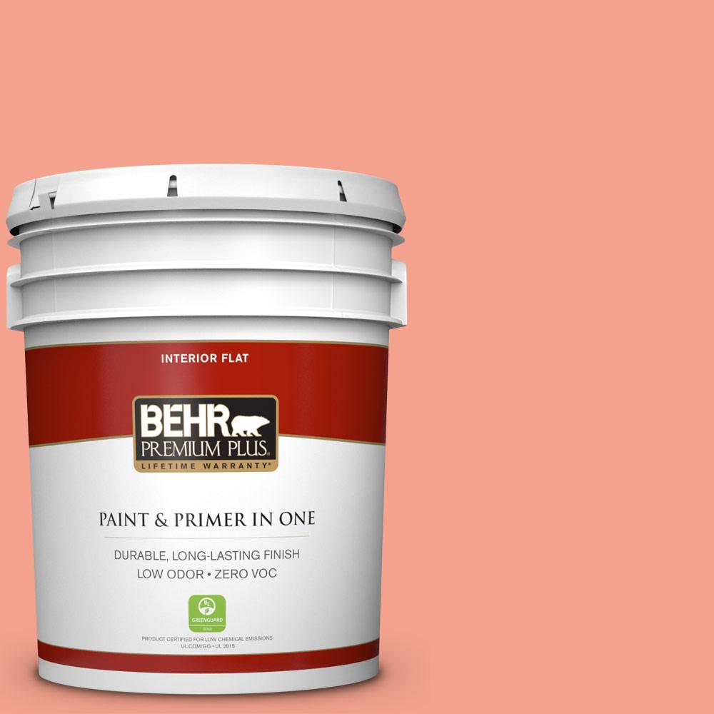 BEHR Premium Plus Home Decorators Collection 5-gal. #HDC-MD-18 Peach Mimosa Zero VOC Flat Interior Paint