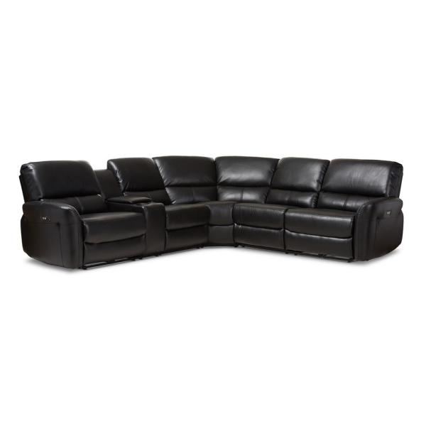 Amaris 5-Piece Black Leather Reclining Sectional