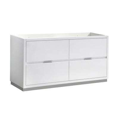 Valencia 60 in. W Bathroom Double Vanity Cabinet in Glossy White