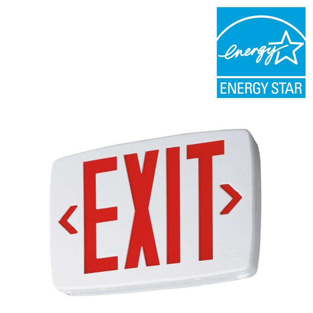 Lithonia Lighting Quantum Thermoplastic White Integrated Led Emergency Exit Sign With Stencil Faced Housing And Red Letters