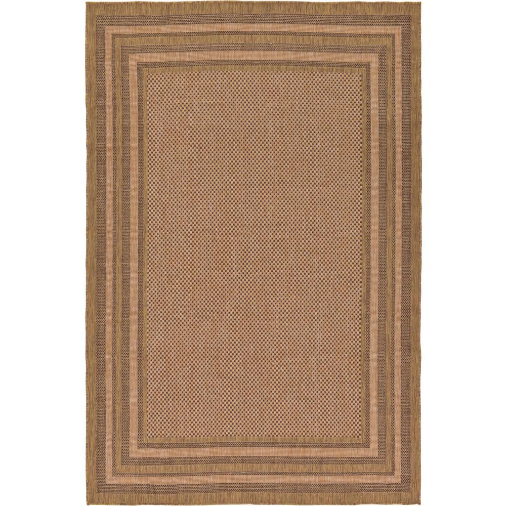 Outdoor Multi Border Light Brown 7' 0 x 10' 0 Area Rug